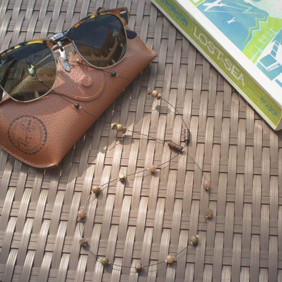 TwentySix Mens sunglasses chain with wood and onyx beads