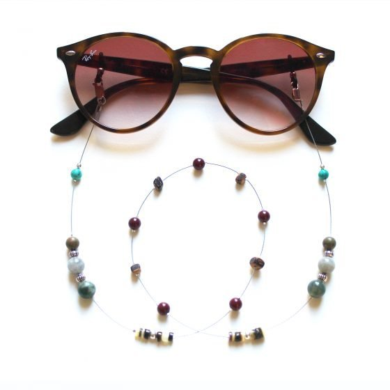 La Voyageuse Twenty Six Turquoise Shell Coconut beads sunlasses Chain