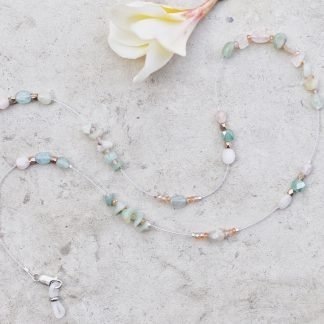 L'Exquise glasses chain Amazonite Morganite