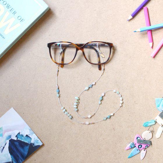 L'Exquise glasses chain Amazonite Morganite